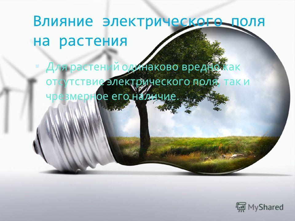 Влияние электрического поля на растения Для растений одинаково вредно как отсутствие электрического поля, так и чрезмерное его наличие.