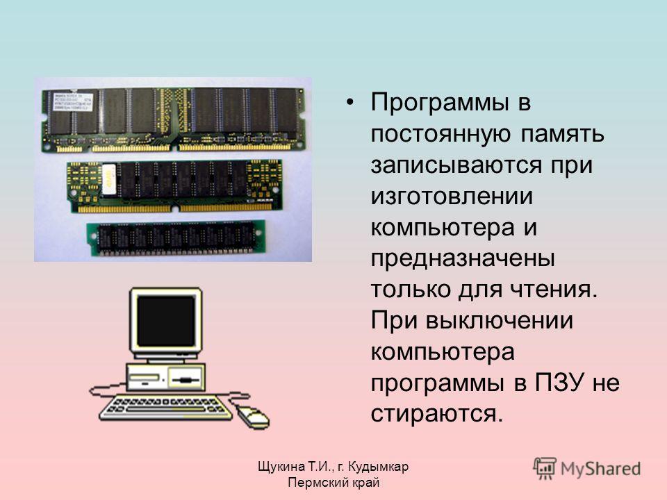 Щукина Т.И., г. Кудымкар Пермский край Программы в постоянную память записываются при изготовлении компьютера и предназначены только для чтения. При выключении компьютера программы в ПЗУ не стираются.