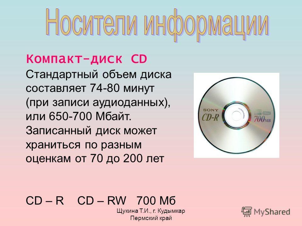Щукина Т.И., г. Кудымкар Пермский край Компакт-диск CD Стандартный объем диска составляет 74-80 минут (при записи аудиоданных), или 650-700 Мбайт. Записанный диск может храниться по разным оценкам от 70 до 200 лет CD – R CD – RW 700 Мб