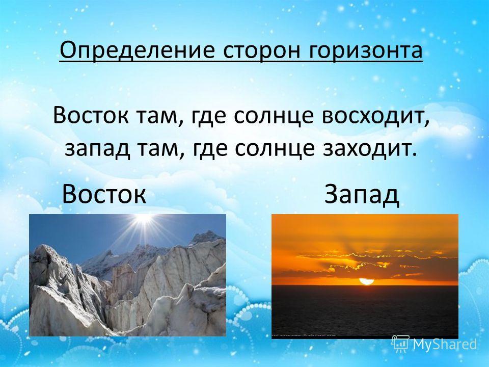 Определение сторон горизонта Восток там, где солнце восходит, запад там, где солнце заходит. ВостокЗапад