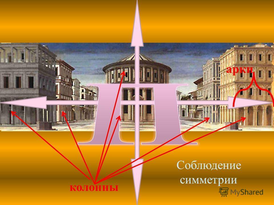 Соблюдение симметрии колонны арки