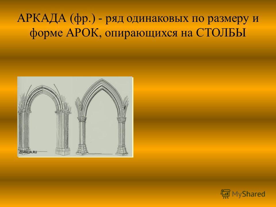 АРКАДА (фр.) - ряд одинаковых по размеру и форме АРОК, опирающихся на СТОЛБЫ