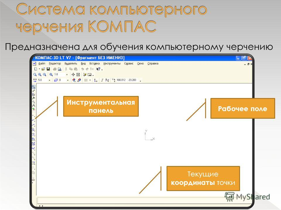 Предназначена для обучения компьютерному черчению Рабочее поле Инструментальная панель Текущие координаты точки
