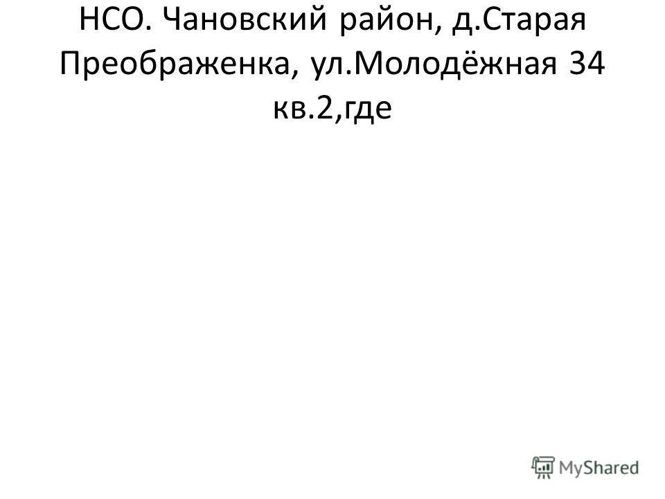 НСО. Чановский район, д.Старая Преображенка, ул.Молодёжная 34 кв.2,где