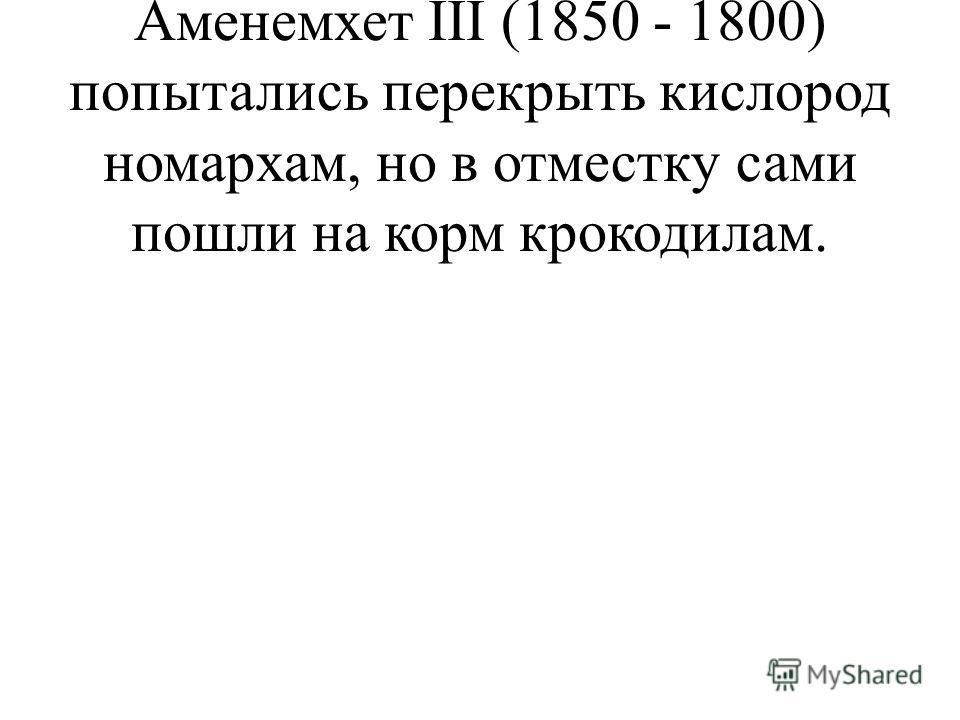 3) Сенусерт I (1887 - 1850) и Аменемхет III (1850 - 1800) попытались перекрыть кислород номархам, но в отместку сами пошли на корм крокодилам.