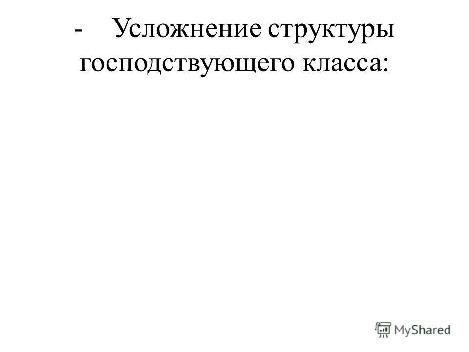 - Усложнение структуры господствующего класса: