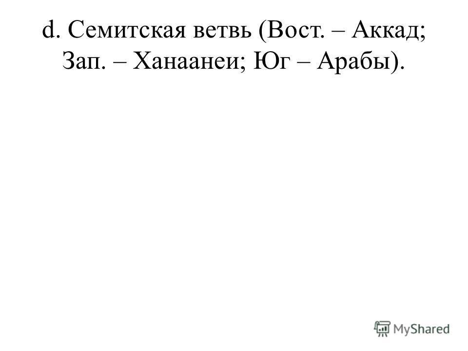 d. Семитская ветвь (Вост. – Аккад; Зап. – Ханаанеи; Юг – Арабы).