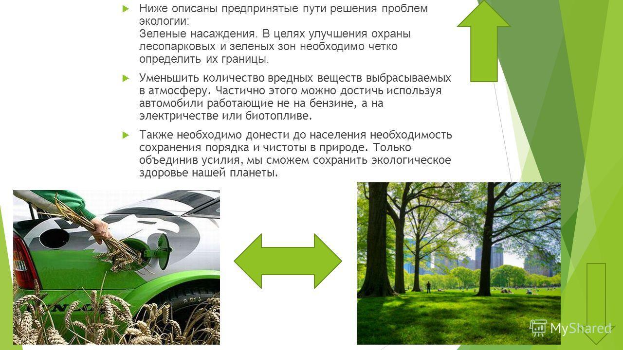 Ниже описаны предпринятые пути решения проблем экологии: Зеленые насаждения. В целях улучшения охраны лесопарковых и зеленых зон необходимо четко определить их границы. Уменьшить количество вредных веществ выбрасываемых в атмосферу. Частично этого мо
