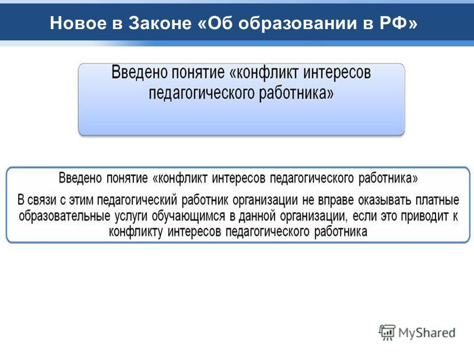 Новое в Законе «Об образовании в РФ»