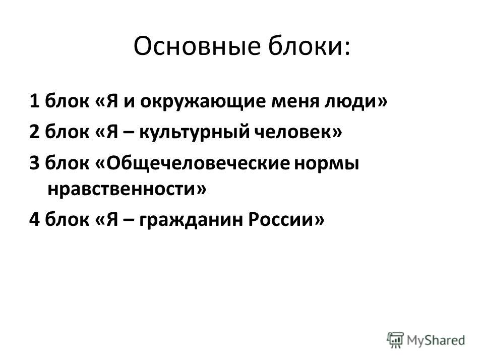 Основные блоки: 1 блок «Я и окружающие меня люди» 2 блок «Я – культурный человек» 3 блок «Общечеловеческие нормы нравственности» 4 блок «Я – гражданин России»