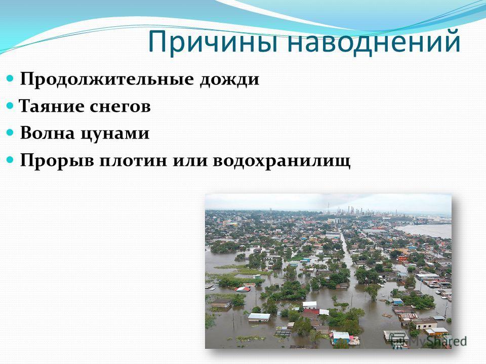 Причины наводнений Продолжительные дожди Таяние снегов Волна цунами Прорыв плотин или водохранилищ