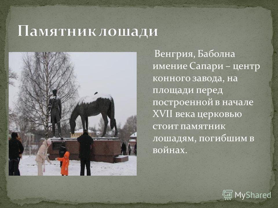 Венгрия, Баболна имение Сапари – центр конного завода, на площади перед построенной в начале XVII века церковью стоит памятник лошадям, погибшим в войнах.