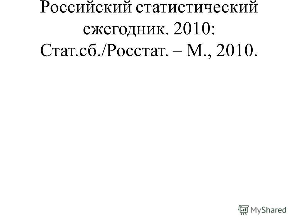 Российский статистический ежегодник. 2010: Стат.сб./Росстат. – М., 2010.