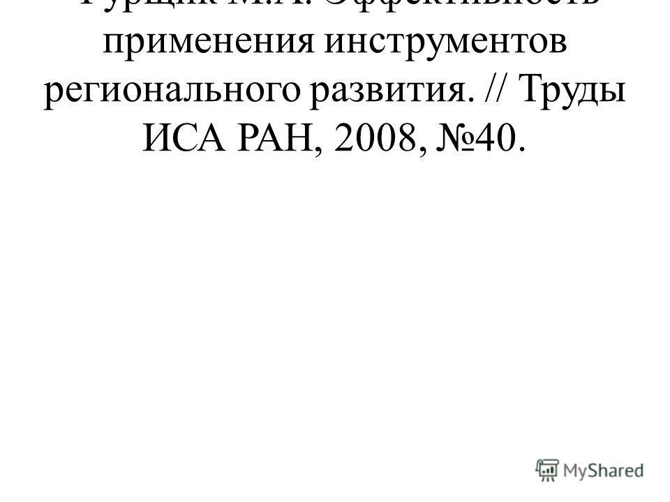 Фурщик М.А. Эффективность применения инструментов регионального развития. // Труды ИСА РАН, 2008, 40.