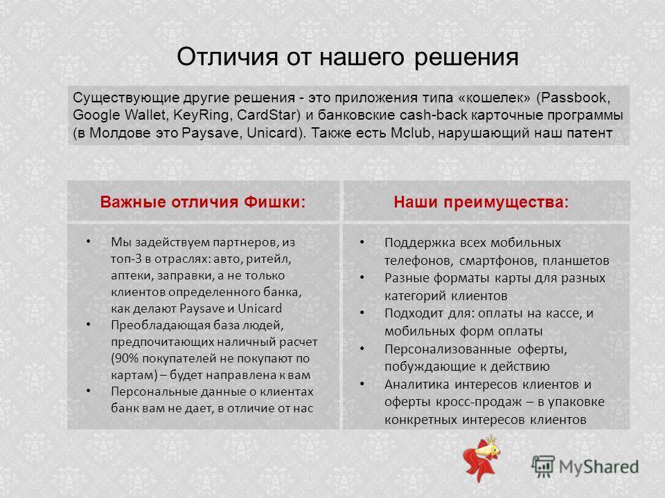 Отличия от нашего решения Существующие другие решения - это приложения типа «кошелек» (Passbook, Google Wallet, KeyRing, CardStar) и банковские cash-back карточные программы (в Молдове это Paysave, Unicard). Также есть Mclub, нарушающий наш патент Ва