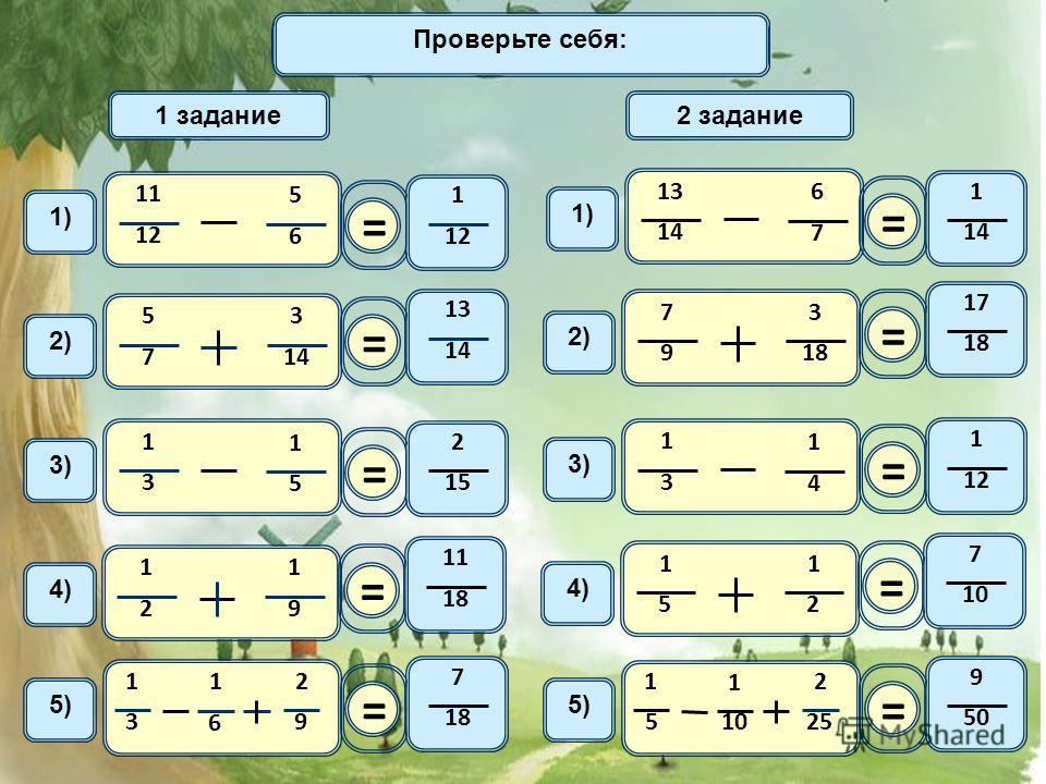 Домашнее задание 11 12 5 6 1) 1 задание2 задание = 1 12 2) 5 7 3 14 = 13 1414 1414 6 7 1) = 1 1414 2) 7 9 3 18 = 17 1818 3) 1 3 1 5 = 2 1515 1 3 1 4 3)3) = 1 1212 4) 1 2 1 9 = 11 1818 4)4) 1 5 1 2 = 7 10 5) 1 3 1 6 2 9 = 7 1818 1 5 1 10 2 25 = 9 50 П