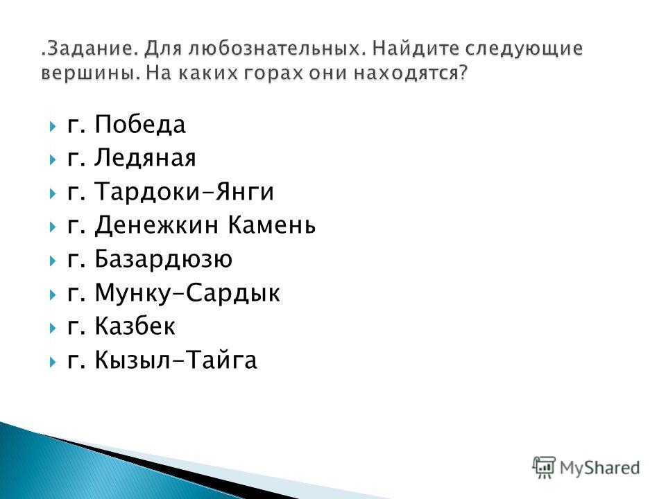 г. Победа г. Ледяная г. Тардоки-Янги г. Денежкин Камень г. Базардюзю г. Мунку-Сардык г. Казбек г. Кызыл-Тайга