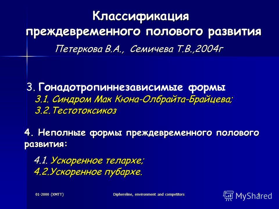 01-2000 (XMTT)Diphereline, environment and competitors5 3. Гонадотропиннезависимые формы 3.1. Синдром Мак Кюна-Олбрайта-Брайцева; 3.1. Синдром Мак Кюна-Олбрайта-Брайцева; 3.2.Тестотоксикоз 3.2.Тестотоксикоз 4. Неполные формы преждевременного полового