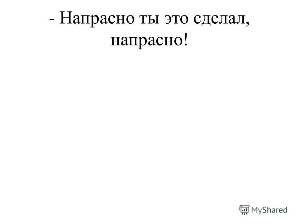 - Напрасно ты это сделал, напрасно!