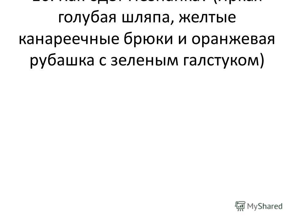 16. Как одет Незнайка? (Яркая голубая шляпа, желтые канареечные брюки и оранжевая рубашка с зеленым галстуком)