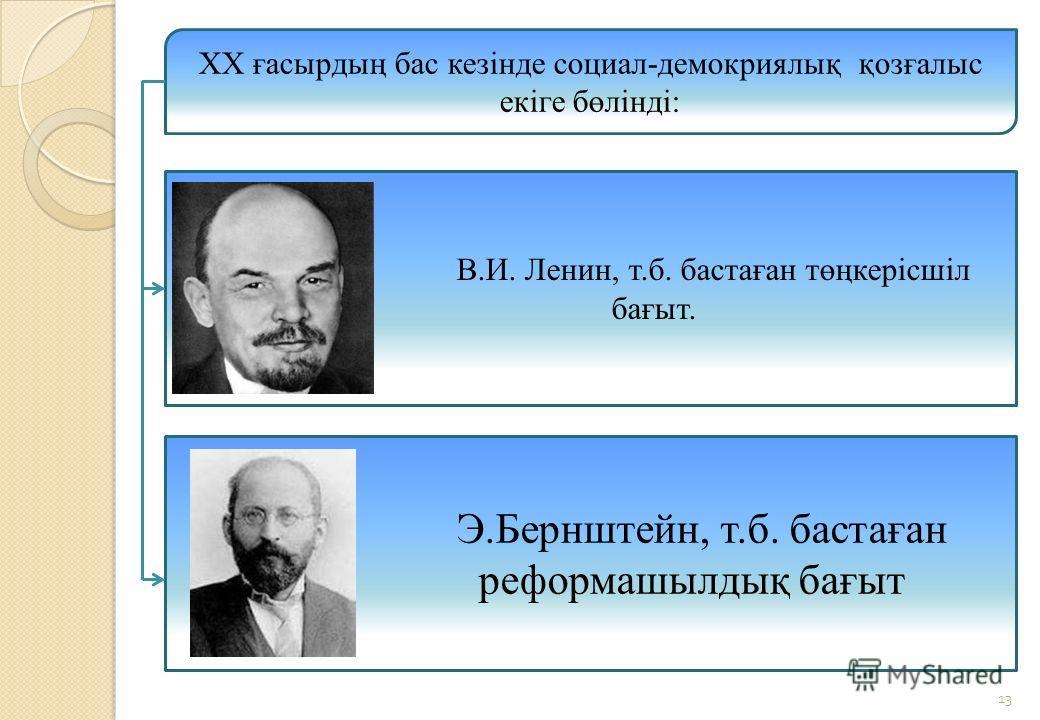 13 ХХ ғасырдың бас кезінде социал-демокриялық қозғалыс екіге бөлінді: В.И. Ленин, т.б. бастаған төңкерісшіл бағыт. Э.Бернштейн, т.б. бастаған реформашылдық бағыт