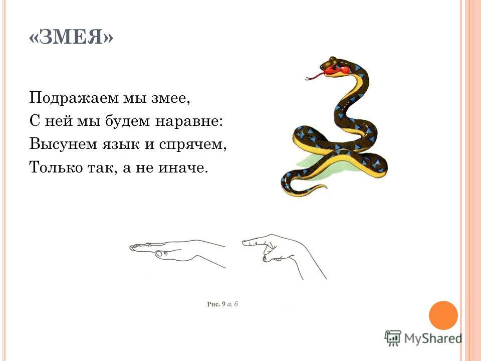 «ЗМЕЯ» Подражаем мы змее, С ней мы будем наравне: Высунем язык и спрячем, Только так, а не иначе.