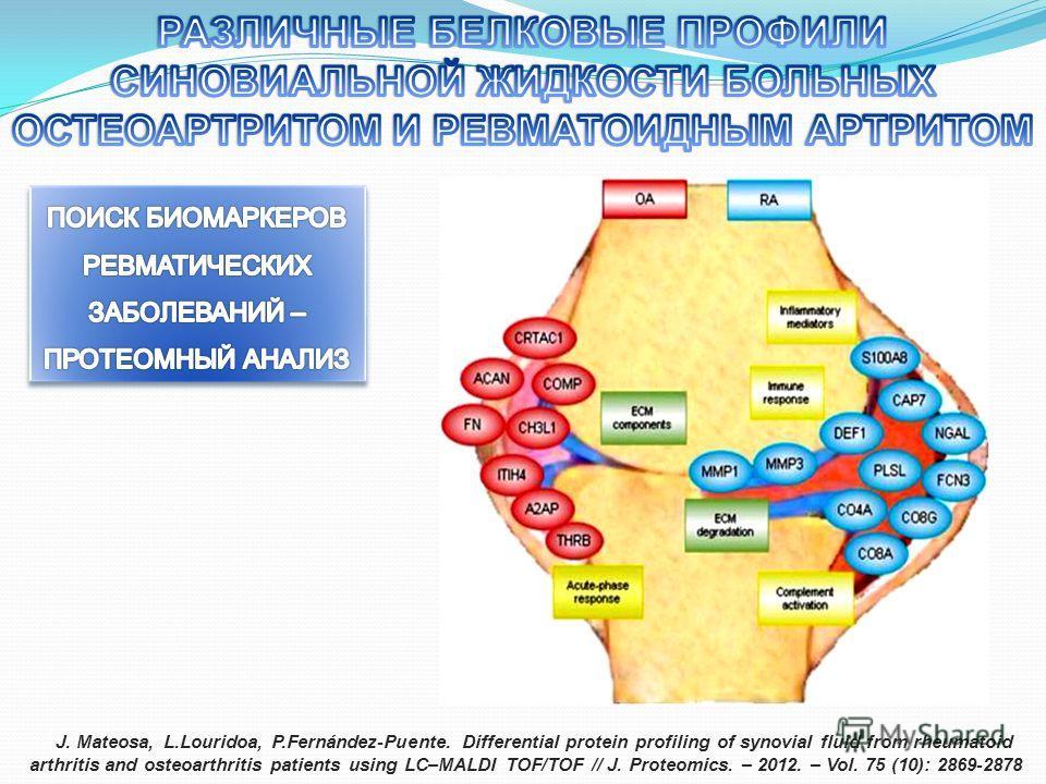 J. Mateosa, L.Louridoa, P.Fernández-Puente. Differential protein profiling of synovial fluid from rheumatoid arthritis and osteoarthritis patients using LC–MALDI TOF/TOF // J. Proteomics. – 2012. – Vol. 75 (10): 2869-2878