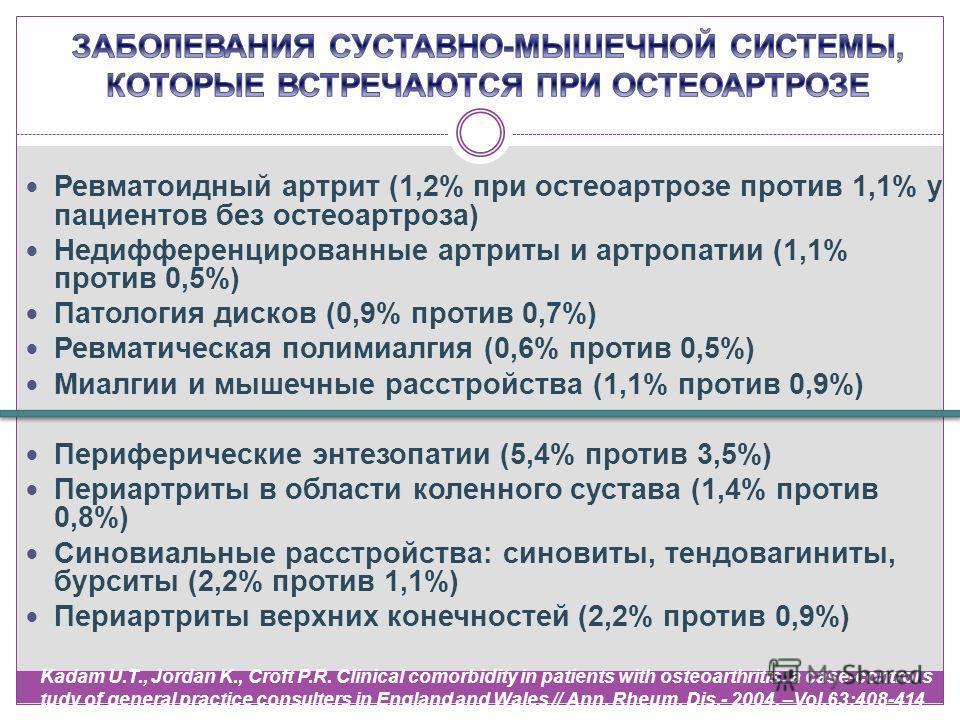 Ревматоидный артрит (1,2% при остеоартрозе против 1,1% у пациентов без остеоартроза) Недифференцированные артриты и артропатии (1,1% против 0,5%) Патология дисков (0,9% против 0,7%) Ревматическая полимиалгия (0,6% против 0,5%) Миалгии и мышечные расс