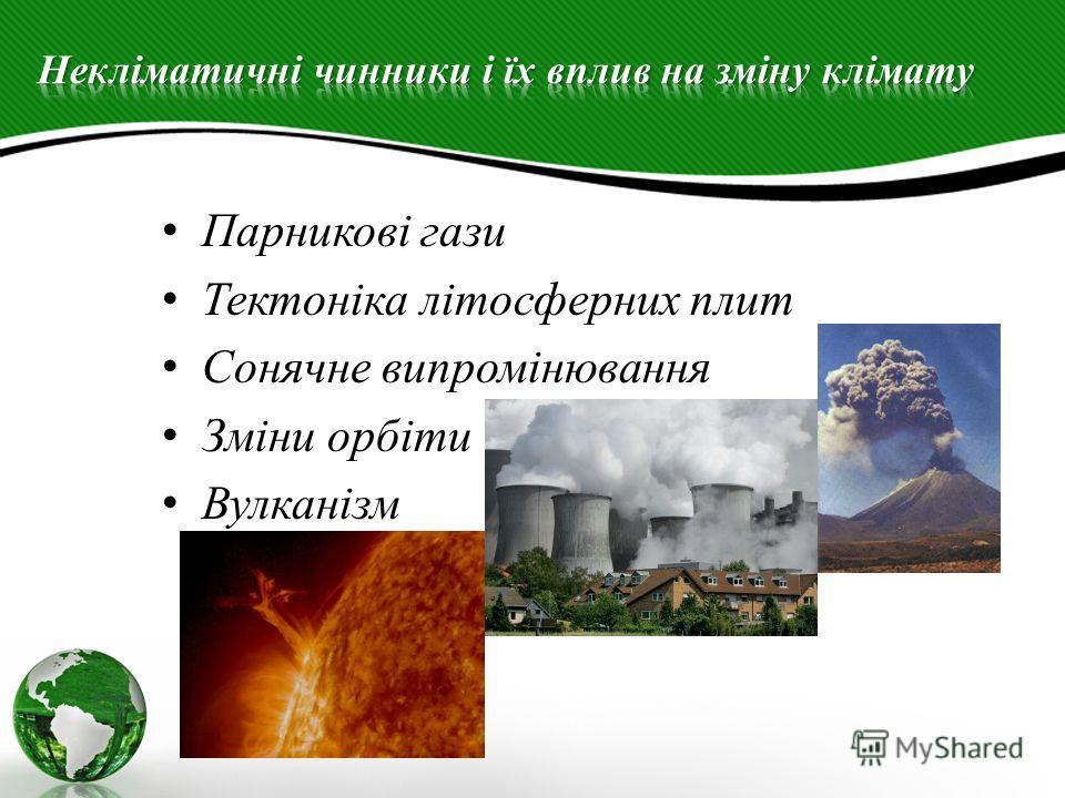 Парникові гази Тектоніка літосферних плит Сонячне випромінювання Зміни орбіти Вулканізм