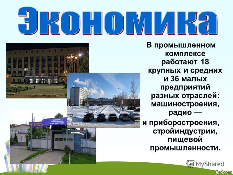 В промышленном комплексе работают 18 крупных и средних и 36 малых предприятий разных отраслей: машиностроения, радио и приборостроения, стройиндустрии, пищевой промышленности.