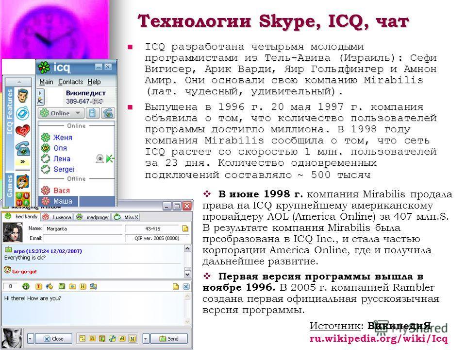 Технологии Skype, ICQ, чат ICQ разработана четырьмя молодыми программистами из Тель-Авива (Израиль): Сефи Вигисер, Арик Варди, Яир Гольдфингер и Амнон Амир. Они основали свою компанию Mirabilis (лат. чудесный, удивительный). ICQ разработана четырьмя
