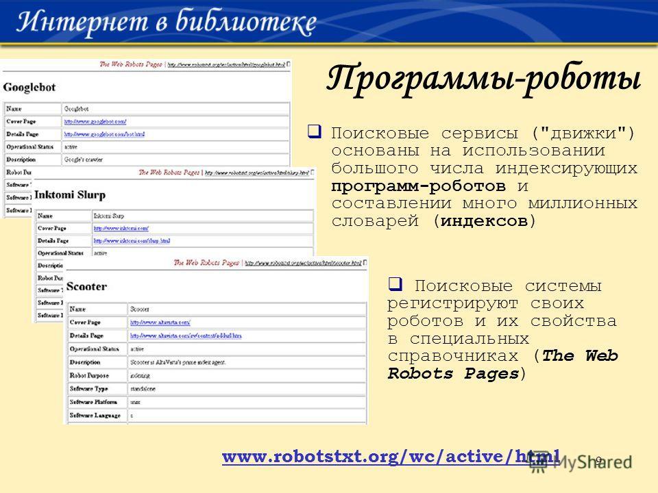 9 Программы-роботы Поисковые сервисы (
