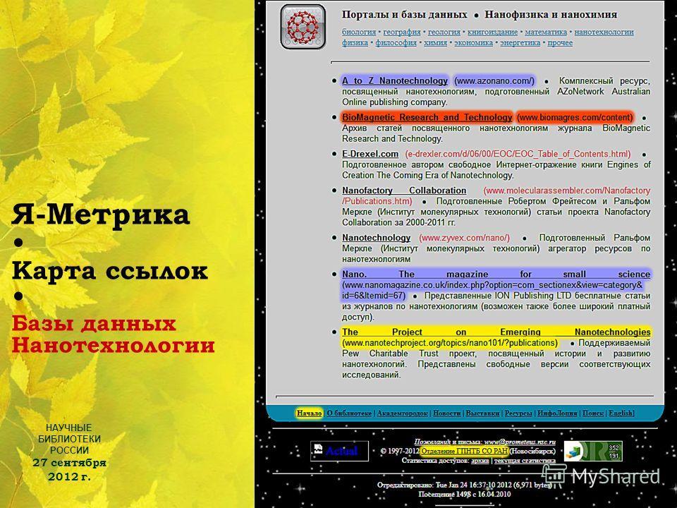 НАУЧНЫЕ БИБЛИОТЕКИ РОССИИ 27 сентября 2012 г. 12 Я-Метрика Карта ссылок Базы данных Нанотехнологии