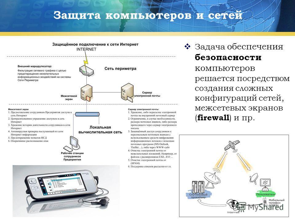 14 Защита компьютеров и сетей Задача обеспечения безопасности компьютеров решается посредством создания сложных конфигураций сетей, межсетевых экранов ( firewall ) и пр.