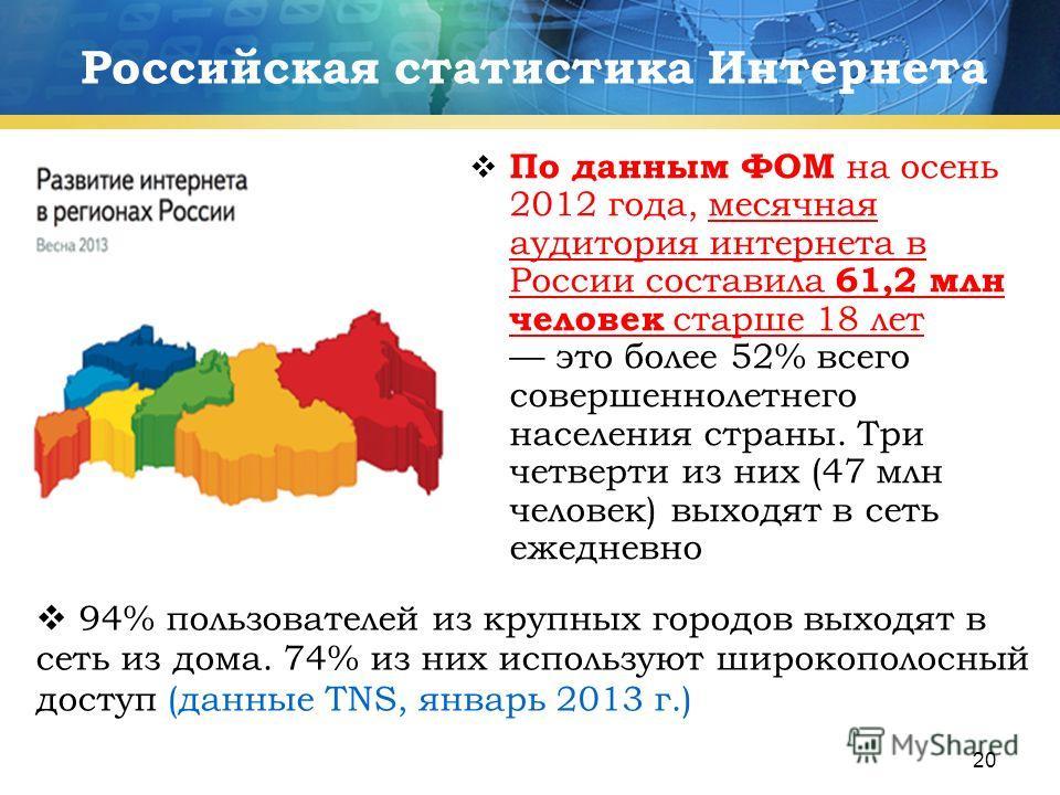 20 Российская статистика Интернета По данным ФОМ на осень 2012 года, месячная аудитория интернета в России составила 61,2 млн человек старше 18 лет это более 52% всего совершеннолетнего населения страны. Три четверти из них (47 млн человек) выходят в