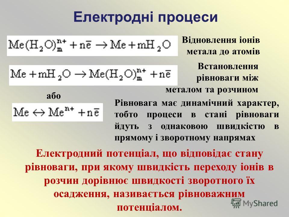 Електродні процеси Відновлення іонів метала до атомів Встановлення рівноваги між металом та розчином або Рівновага має динамічний характер, тобто процеси в стані рівноваги йдуть з однаковою швидкістю в прямому і зворотному напрямах Електродний потенц