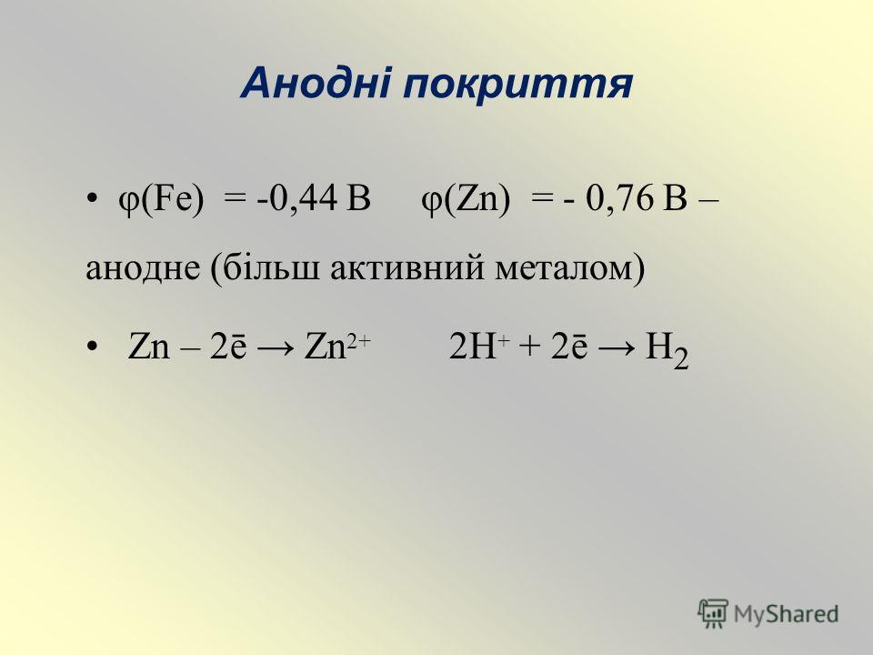 Анодні покриття φ(Fe) = -0,44 В φ(Zn) = - 0,76 В – анодне (більш активний металом) Zn – 2ē Zn 2+ 2H + + 2ē H 2