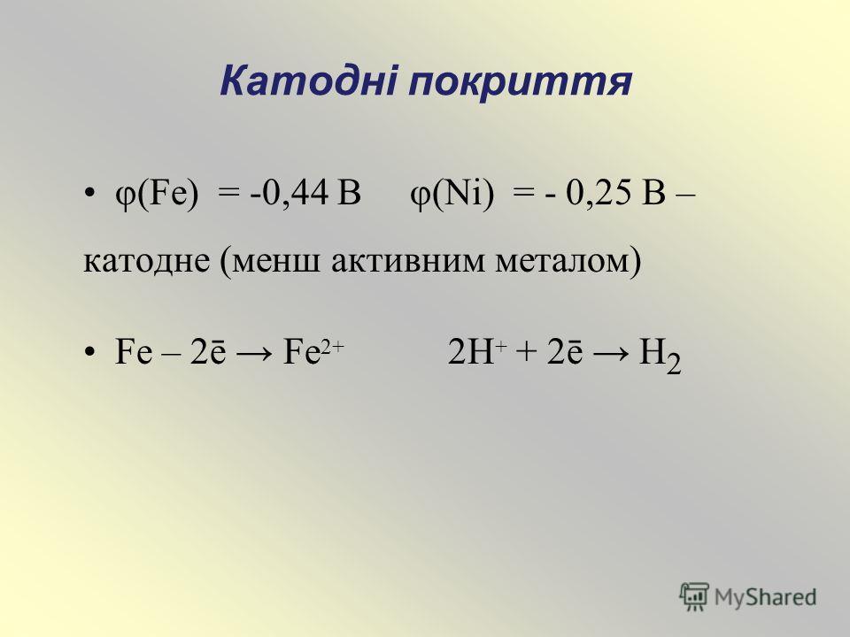 Катодні покриття φ(Fe) = -0,44 В φ(Ni) = - 0,25 В – катодне (менш активним металом) Fe – 2ē Fe 2+ 2H + + 2ē H 2