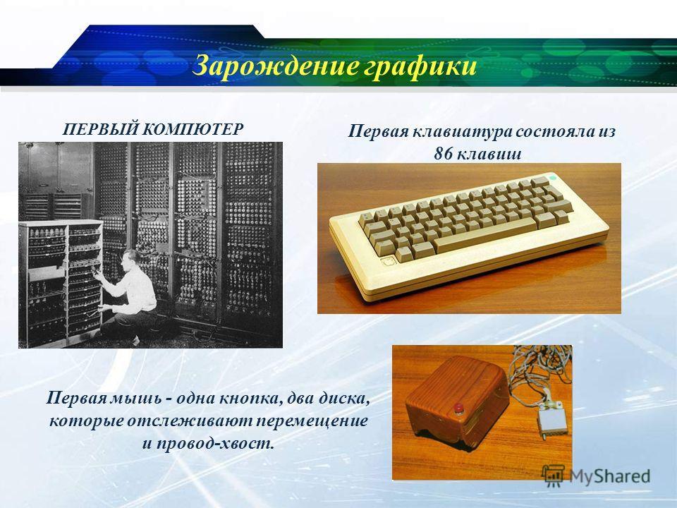 Зарождение графики ПЕРВЫЙ КОМПЮТЕР Первая клавиатура состояла из 86 клавиш Первая мышь - одна кнопка, два диска, которые отслеживают перемещение и провод-хвост.
