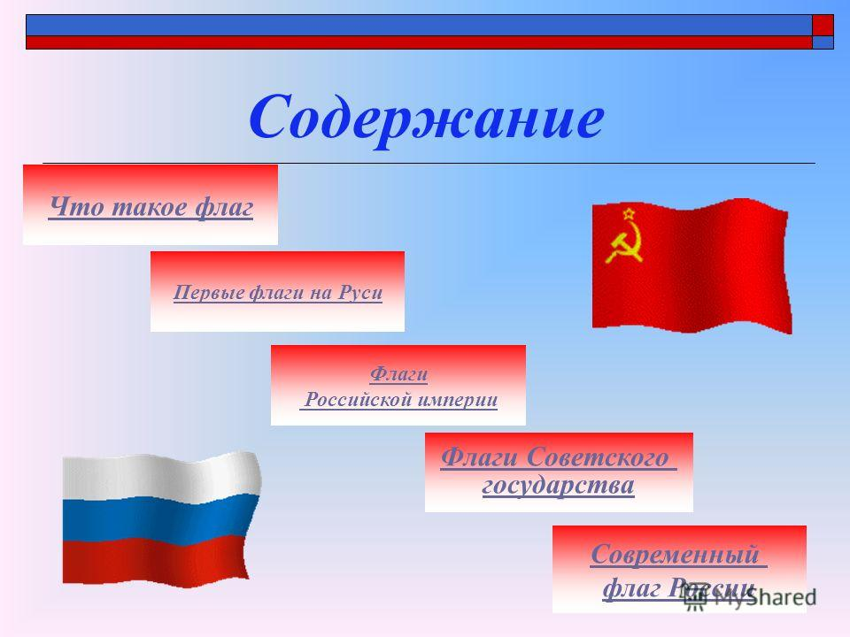 Содержание Что такое флаг Первые флаги на Руси Флаги Российской империи Флаги Советского государства Современный флаг России