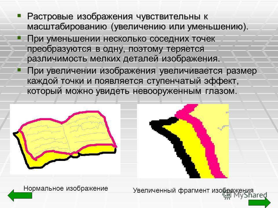 Растровые изображения чувствительны к масштабированию (увеличению или уменьшению). Растровые изображения чувствительны к масштабированию (увеличению или уменьшению). При уменьшении несколько соседних точек преобразуются в одну, поэтому теряется разли