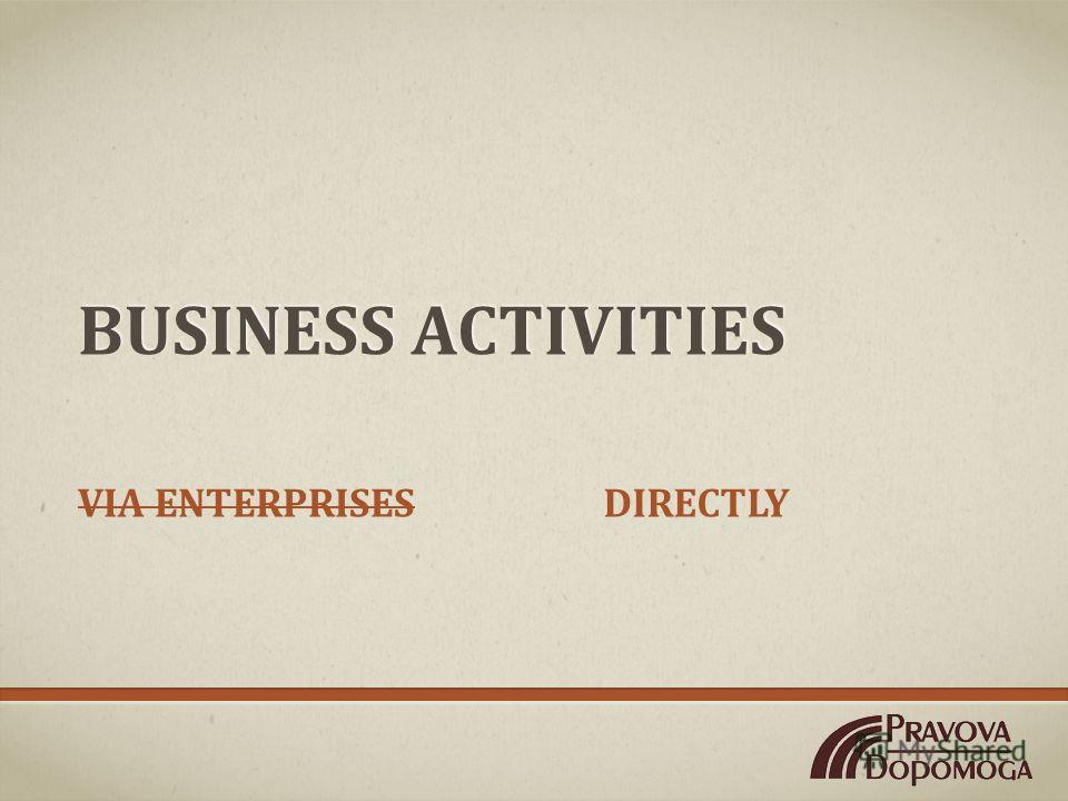 BUSINESS ACTIVITIES DIRECTLYVIA ENTERPRISES
