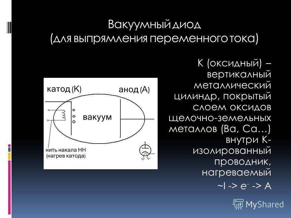 Вакуумный диод (для выпрямления переменного тока) К (оксидный) – вертикалный металлический цилиндр, покрытый слоем оксидов щелочно-земельных металлов (Ba, Ca…) внутри К- изолированный проводник, нагреваемый ~I -> e - -> A