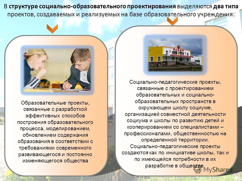 В структуре социально-образовательного проектирования выделяются два типа проектов, создаваемых и реализуемых на базе образовательного учреждения: Социально-педагогические проекты, связанные с проектированием образовательных и социально- образователь
