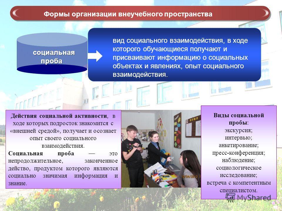 вид социального взаимодействия, в ходе которого обучающиеся получают и присваивают информацию о социальных объектах и явлениях, опыт социального взаимодействия. Формы организации внеучебного пространства социальная проба Виды социальной пробы: экскур