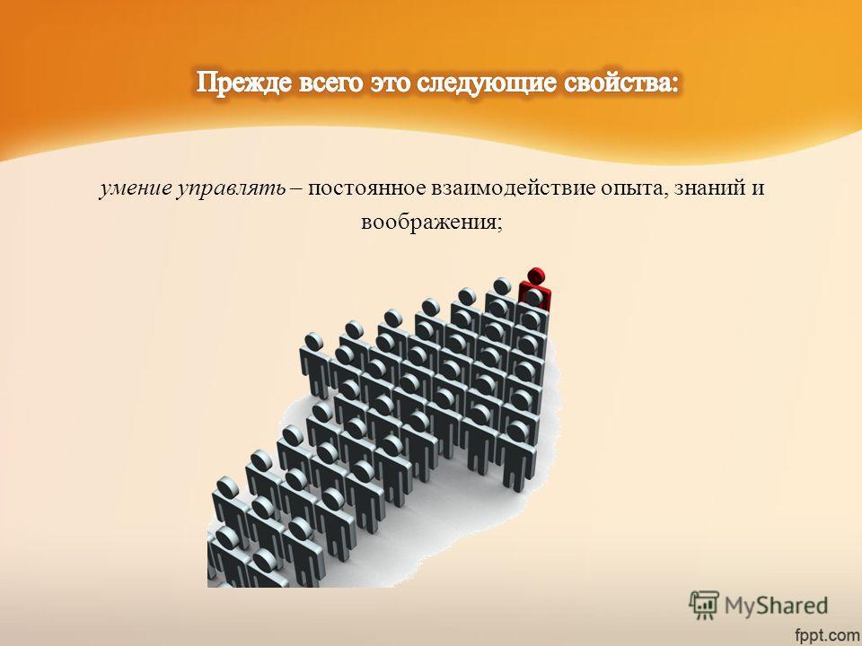 умение управлять – постоянное взаимодействие опыта, знаний и воображения;