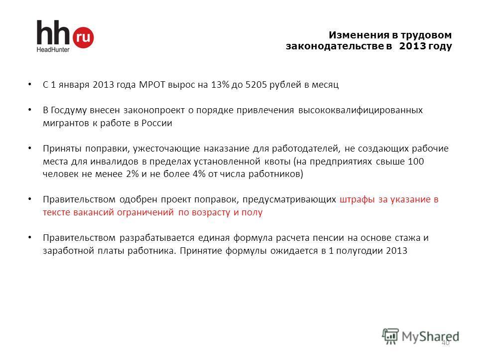 40 Изменения в трудовом законодательстве в 2013 году С 1 января 2013 года МРОТ вырос на 13% до 5205 рублей в месяц В Госдуму внесен законопроект о порядке привлечения высококвалифицированных мигрантов к работе в России Приняты поправки, ужесточающие