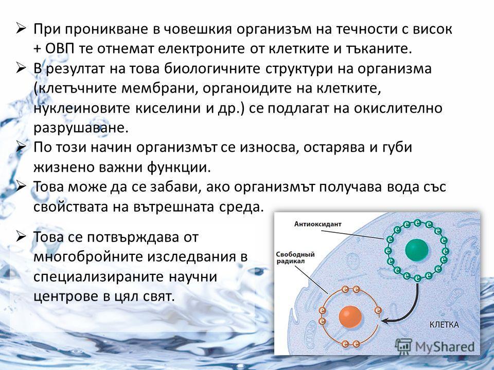 При проникване в човешкия организъм на течности с висок + ОВП те отнемат електроните от клетките и тъканите. В резултат на това биологичните структури на организма (клетъчните мембрани, органоидите на клетките, нуклеиновите киселини и др.) се подлага