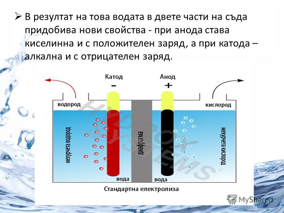 В резултат на това водата в двете части на съда придобива нови свойства - при анода става киселинна и с положителен заряд, а при катода – алкална и с отрицателен заряд.
