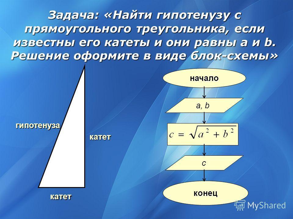 гипотенуза катет катет начало a, b c конец